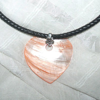 Tangerine Shell Heart and Black Braided Genuine Leather Pendant Necklace