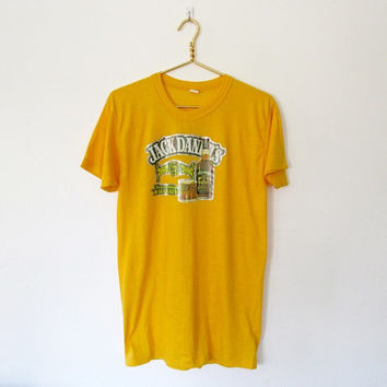 Vintage 1970s Jack Daniel's Tennessee Whiskey Iron on T-shirt / Yellow Unisex Tee