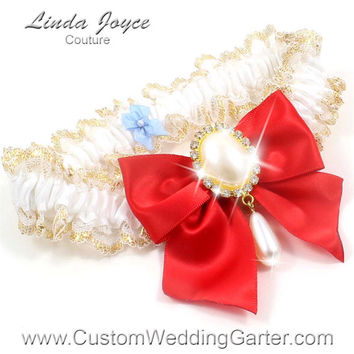 White and Red WEDDING GARTER Pearl Bridal Lace Garter 112 White-299 Red Gold Prom Garter Plus Size & Queen Size Available too