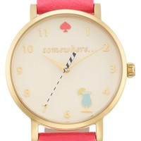 Women's kate spade new york 'metro - somewhere' leather strap watch, 34mm - Flamingo Pink