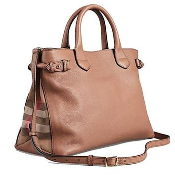 DCCK3SY Tote Bag Handbag Authentic Burberry Medium Banner in Leather and House Check Dark Sand Item 39589811