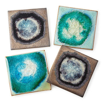 Stoneware and Crackled Glass Coaster Sets | coasters, glazed