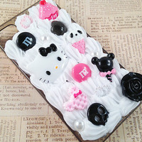 Black iPhone 4/4S Case Decoden Phone Case Kawaii Goth Theme Design Black and Pink Hello Kitty Sweets Candy Faux Pearl Flatbacks Snap on Case