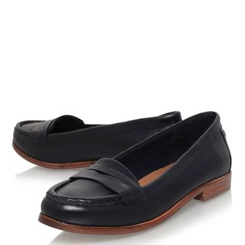 **Mallori Navy Low Heel Slip On Loafers by Miss KG