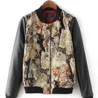 Kitten Print Leather Long Sleeve Jacket