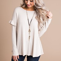 Solana Ruffle Sleeve Top (Oatmeal)