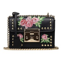 Women Small Crossbody Flap Bag Ladies Embroidery Floral PU Studded Rivets Handbag Chain Shoulder Bag Vintage Female Purse