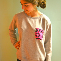 Oversized Sweatshirt with Hot Pink Cheetah Print Pocket