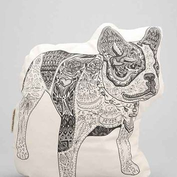 The Rise And Fall Bulldog Pillow- Black & White One