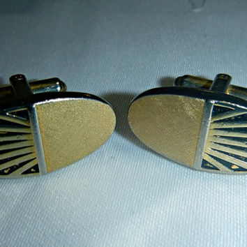 60's Art Deco Style Cufflinks Vintage Signed Swank Cuff Links Geometric Mens Jewelry Mad Men Hollywood Don Draper Mid Century Accessories
