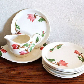 Antique China Set Hand Painted Pink Floral Green Arbor Design Continental Kiln Vintage Dishes