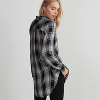 Plaid Button Front Tunic