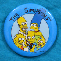 Vintage 80s The Simpsons Button Pinback Badge Pin