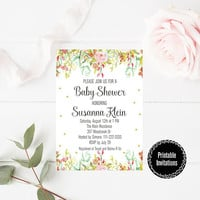 Custom Baby Shower Party Printable - Watercolor Wildflowers Baby Shower Party Invitation - Watercolor Floral Party Invitation Digital Print