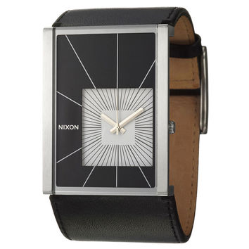 Nixon A025005 Women's The Motif Black & White Dial Black Leather Strap Watch