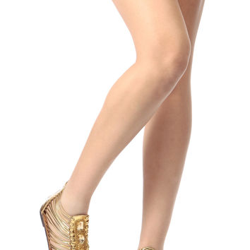 Gold Faux Leather Bejeweled Gladiator Sandals