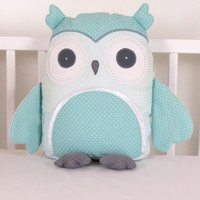 Kids Pillows, Owl Pillowcases, Teal and Gray Decorative Throw Pillow Cover, Personalized Toddler Gift, Childrens Cushion Cover
