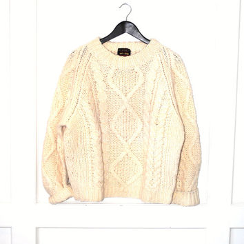 cream wool cable knit sweater 70s vintage wool sweater retro pull over knitted jumper