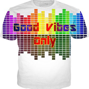 Good Vibes Only, positive vibration, music equalizer, vector tee shirt design, rainbow colors palette