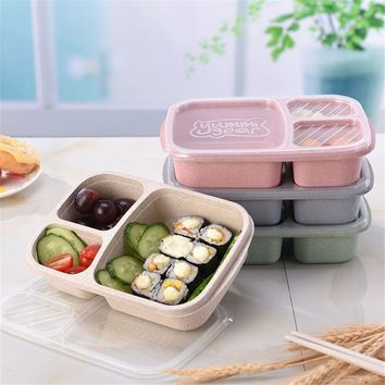 Picnic Wheat Straw Bento 3 Compartment Meal Storage Lunch Container Food Prep Box
