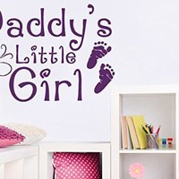Wall Decals Quote Daddy's Little Girl Children's Imprint Of Feet Butterfly Decal Vinyl Sticker Girl Bedroom Nursery Baby Room Home Decor Art Murals Ms703