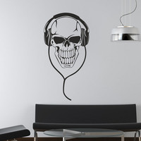 Wall Decal Mural Sticker Bedroom Decals Poster Skull Headphones Music (z658)