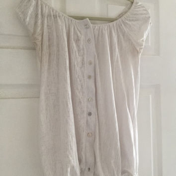 Papaya White Button Down Peasant Style Shirt (Small/Indie Brands)