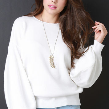 Thick Knit Trumpet Sleeve Sweater Top