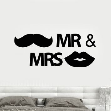 Vinyl Wall Decal Mr. and Mrs. Bedroom Decor Newlyweds Stickers (2338ig)