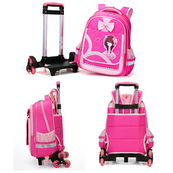 The pupils in Grade 3-6 gorjuss trolley mochila 6 round detachable flash stairs backpack bag for children