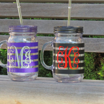 acrylic cup, personalized tumbler, plastic mason jar, wedding mason jar, monogrammed cup, stocking stuffer, wedding mason jars, mason mug