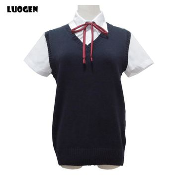 Japanese School Student JK Uniform Vest V-neck Sailor Sweater For Girl Sleeveless Anime Love Live K-on Cosplay Knit 12 Colors
