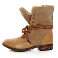 Wanted Forge Tan Two Tone Lace-Up Ankle Boots - $65.00