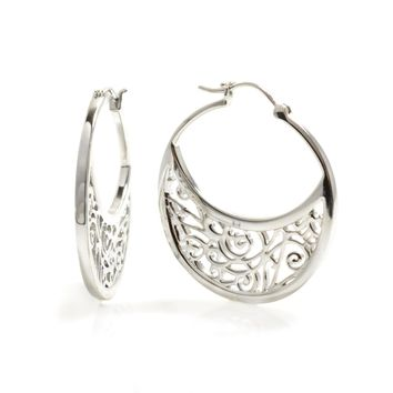 Large Sterling Silver Hoop Earrings with Signature Design 96369d5a5