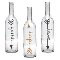 Set of 3 Faith Hope Love Wine Bottle with Arrow Design - Personalized Gifts for her, Wine Decor, Custom Flower Vase, Gift for Friend