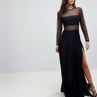 ASOS TALL Pleated Dobby & Lace Top Long Sleeve Maxi Dress at asos.com
