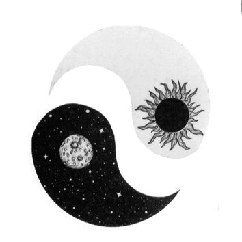 Sun and Moon Yin and Yang Waterproof Temporary Tattoos 10.5*6cm