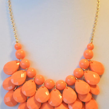 Free Shipping, Free set of earrings, Anthropologie Necklace, Bib Necklace, Coral Statement Necklace, Teardrop Necklace.