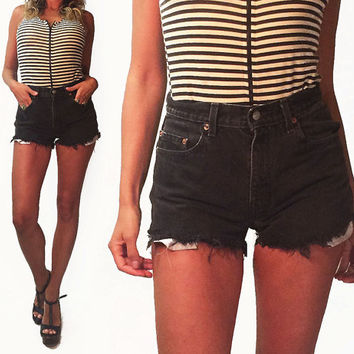 Vintage 1980s Levi's High Waisted Black Cut Off Shorts || Levis 505 Jeans || Size 27-28