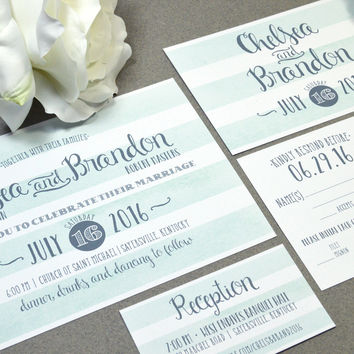 Watercolor Wedding Invitations Striped Invite Set Mint and Gray Pocketfold Suite Rustic Wedding Invitation Script Wedding Invites Stripes