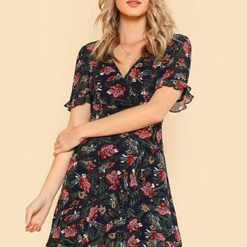 Chiffon Ruffle Floral Print V Neck Wrap Dress