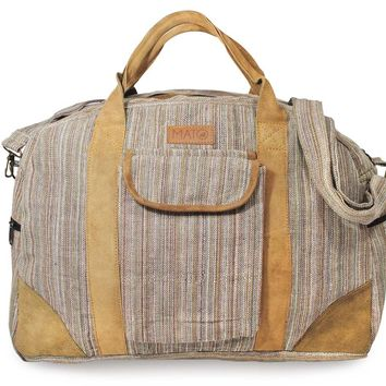Mato Hemp Overnight Weekender Travel Duffel Bag Brown Suede