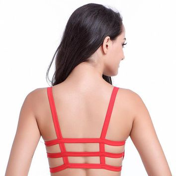 2016 Hot  Sexy Fashion Women Soft  Cotton Padded Bra Crop Tops 3 Band Vest Cut Out  Beach Tank Tops 6Colors