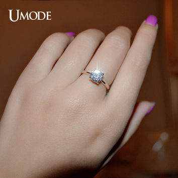 UMODE Rose Gold Color 4 Prongs 1.25 Carat Single CZ Shiny Stone Simple Engagement Rings JR0136A