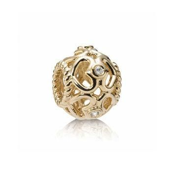 PANDORA Gold Open Heart Diamond Charm
