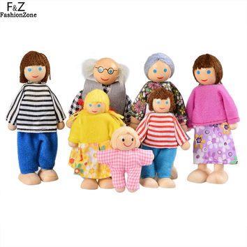 Toys for children doll Baby Doll Toys lovely Family Doll Wooden Toy Kids Playing Doll Educational Toy A Family Of Seven