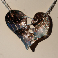 Brass and Sterling Silver Textured Sewn Heart
