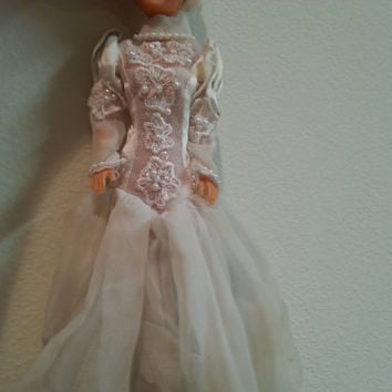 Barbie Wedding Dress with Veil, 1980's Barbie Doll White Gown, Lace Pearls Flowers and Sequins