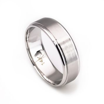 14k white gold matte finish wedding band 6mm for men