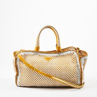 "Prada Yellow and White Leather Woven Cross Body ""Made In"" Madras Tote Bag"